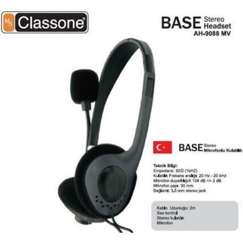 Classone AH-9088MV Base Serisi Kulaklık, Mikrofonlu ve Kablodan Ses Kontrol / Siyah