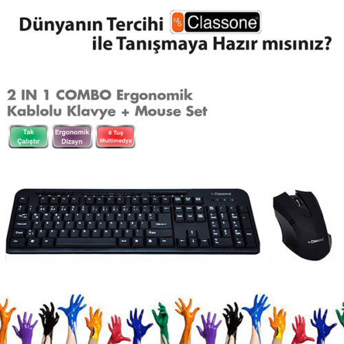 Classone WK628-M03-F Kablolu F Klavye Mouse Set